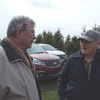 Ron Miner and Earl Jackson discuss the Piper Creek Trial Garden